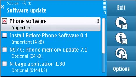 Nokia N97 SW Update Menu