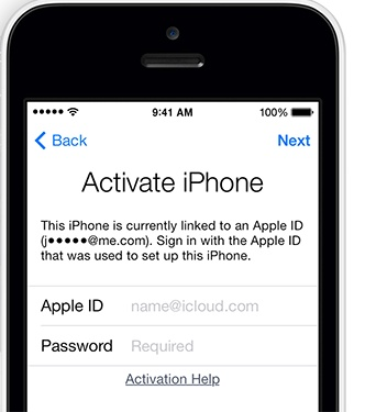 apple id iphone activation
